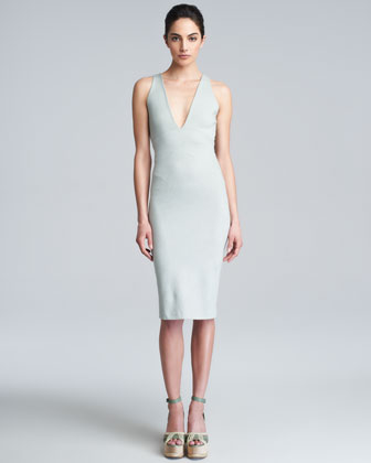 Donna Karan Deep V-neck Knit Dress, Water