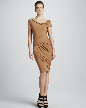 Donna Karan Cap-sleeve Bias Jersey Dress,