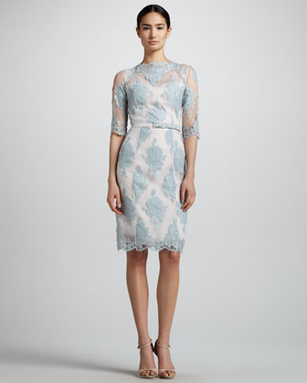 Anna Lace Elbow-Sleeve Dress, Light Blue