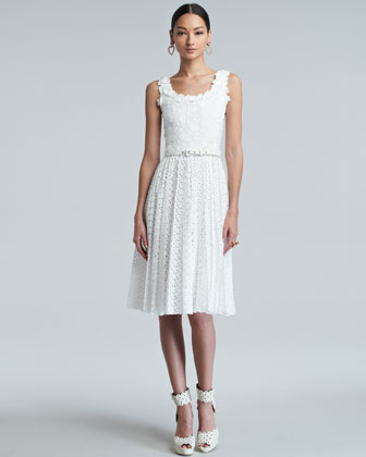 White Floral Pleated Broderie Anglaise Dress