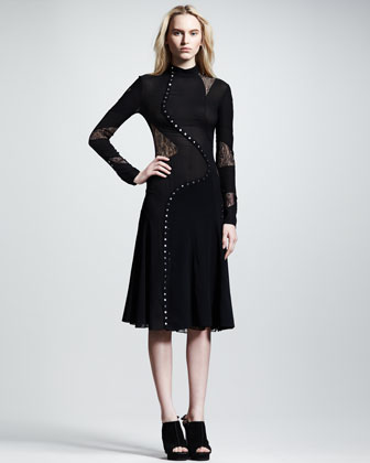 Long-Sleeve Pieced Dress