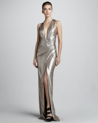 Metallic Plunging-Neck Evening Gown