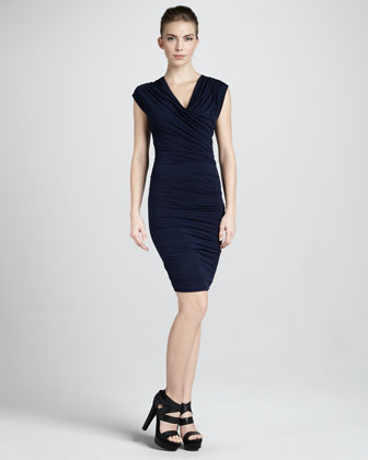 Donna Karan Cap-sleeve Cowl Dress, Navy