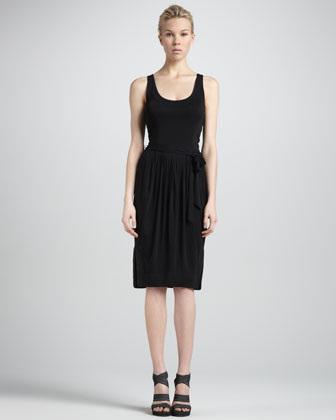 Donna Karan Self-belted Sleeveless Jersey