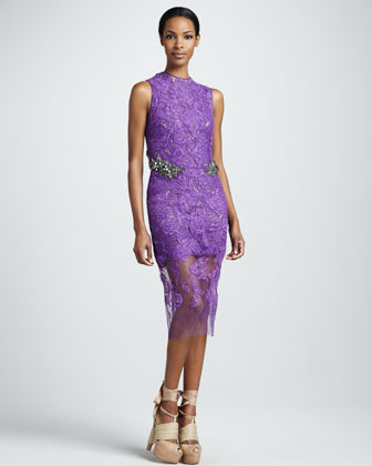 Jewel-Waist Lace Sheath Dress, Amethyst