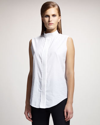 Trapunto-Stitched Sleeveless Blouse