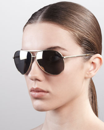 Classic Aviator Sunglasses, Shiny Gold