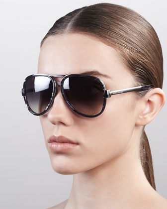 Oversized Aviator Sunglasses, Gray Spot Palladium