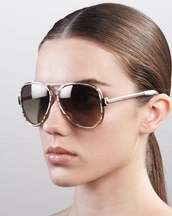 Oversized Aviator Sunglasses, Sand Striated