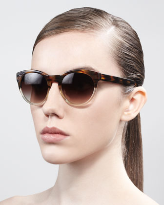 Alivia Cat-Eye Sunglasses, Brown/Clear