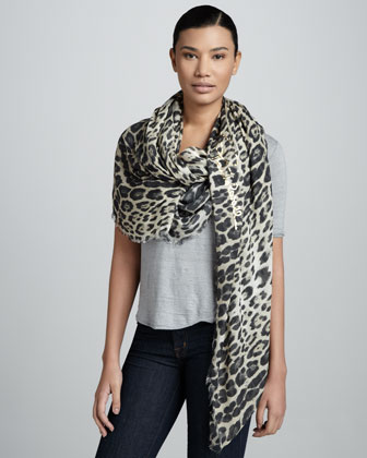 Animal-Print Scarf, Natural