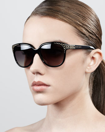 Cat-Eye Stud Sunglasses, Black