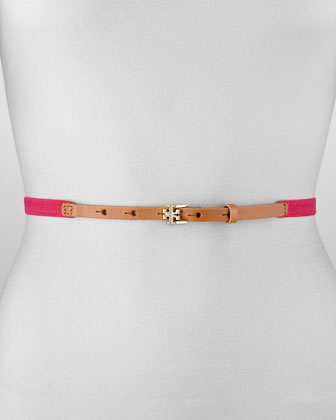 Skinny Logo Stretch Belt, Bougainville Pink