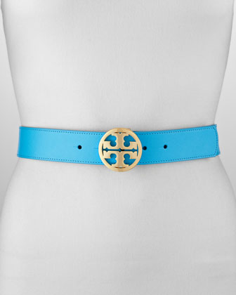 Classic Leather Tory Logo Belt, Turquoise