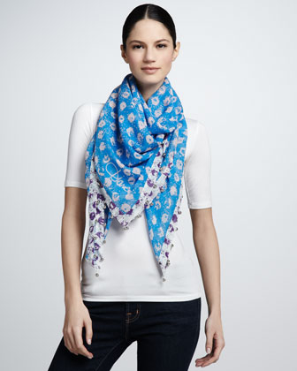 Graphic Sequin-Print Cashmere Scarf, Blue