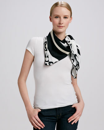 Yin Yang Timeless Silk Scarf, Black/White