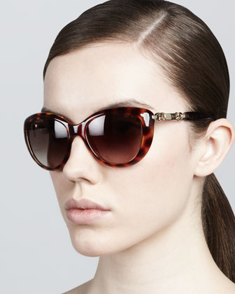 Wigmore Cat-Eye Chain-Arm Sunglasses, Havana