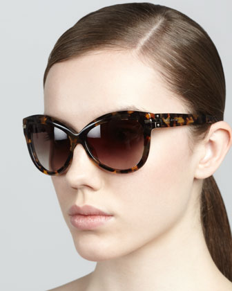 Rounded Cat-Eye Sunglasses, Dark Havana