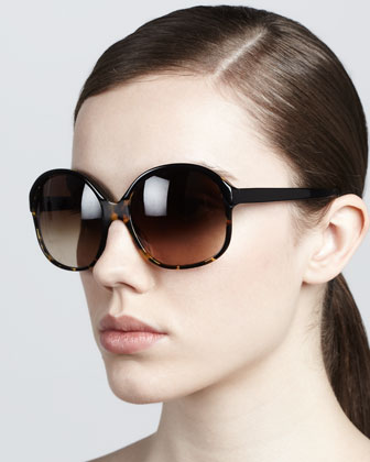 Casandra Round Sunglasses, Brown