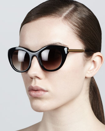 Poetry Soft Cat-Eye Sunglasses, Shiny Black