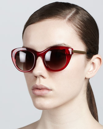 Poetry Soft Cat-Eye Sunglasses, Red