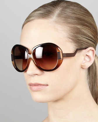 Round Enamel/Metal Sunglasses, Brown