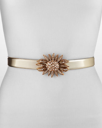Oscar De La Renta Jeweled Sunflower Belt,