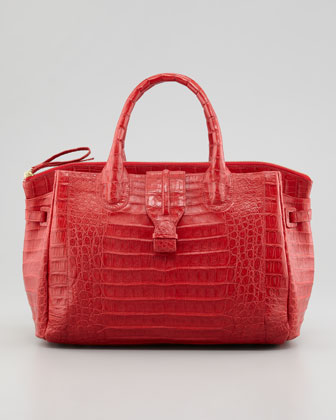 Cristina Crocodile Shoulder Tote Bag, Red