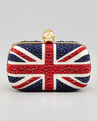 Britannia Skull-Clasp Clutch Bag, Multi