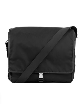 Single Clip Messenger Bag, Black Canvas