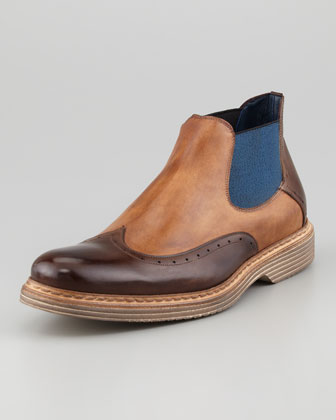 Bicolor Wing-Tip Chelsea Boot, Medium Brown