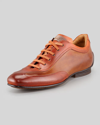 Bicolor Burnished Leather Sneaker