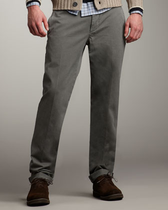 Men's Brunello Cucinelli Slim Pants, Oliv