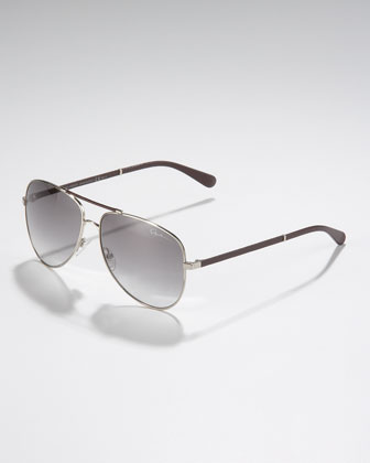Classic Aviator Sunglasses, Light Golden