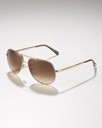 Metal Aviator Sunglasses, Golden