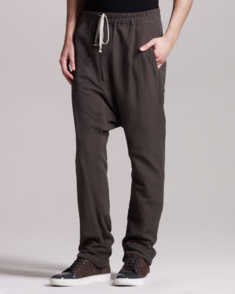 Men's Rick Owens Silk Drop-crotch Pants,