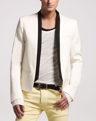 Contrast-Collar Jacket