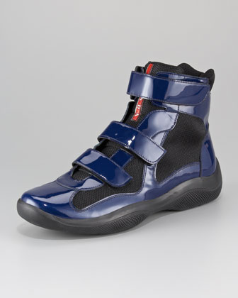 Patent Double-Strap High-Top Sport Sneaker