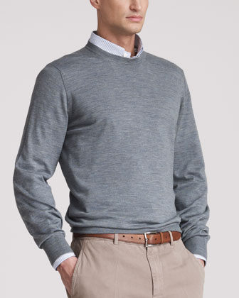 Fine-Gauge Crew Sweater, Auoro
