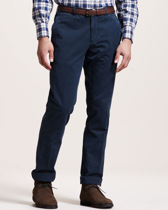 Basic Flat-Front Pants, Navy