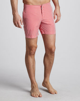 Orlebar Brown Beagle Surf Shorts, Red