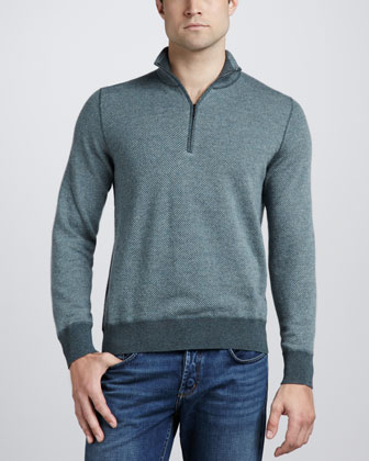 Roadster Half-Zip Cashmere Sweater, Jungle Green