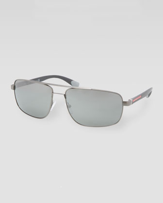 Metal Navigator Sunglasses, Shiny Gray