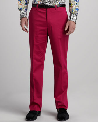 Flat-Front Cotton Pants, Pink