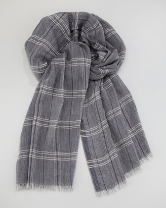Lightweight Plaid Cashmere Scarf, Blue