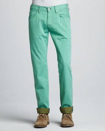 Straight Twill Pants, Vista Green