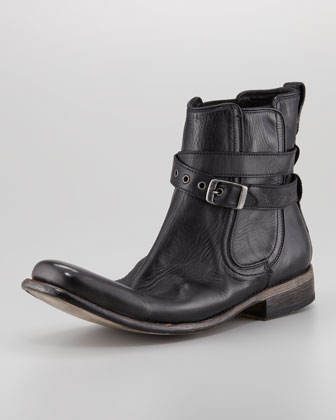 Bowery Buckled Chelsea Boot, Black