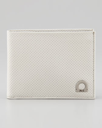 Melrose Perforated Bi-Fold Wallet, Ivory