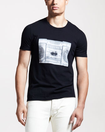Radio-Print Silk Tee, Black