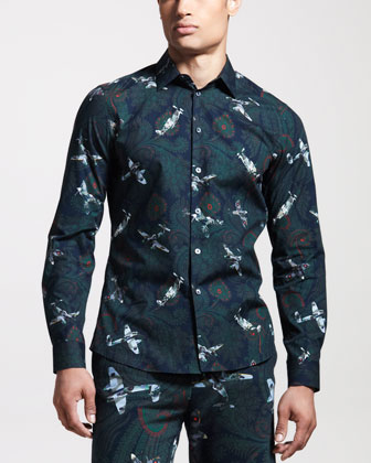 Airplane-Print Sport Shirt